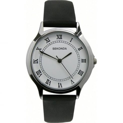 Sekonda Classic White Dial Black Strap Gents Watch 3022