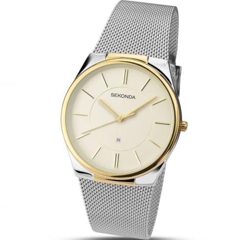 Sekonda Cream Dial Chrome Mesh Strap Gents Watch 1179