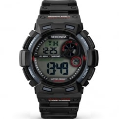 Sekonda Digital Chronograph Black Resin Strap Gents Watch 1034