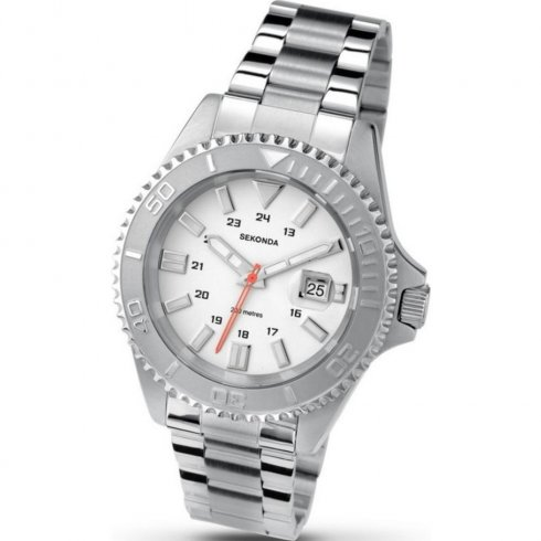 Sekonda Divers white dial stainless steel bracelet Mens watch 3275