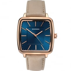 Sekonda Editions Blue Dial Beige Leather Strap Ladies Watch 2449