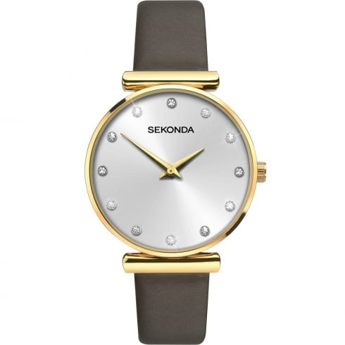 Sekonda Editions Champagne Dial Brown Leather Strap Ladies Watch 2471