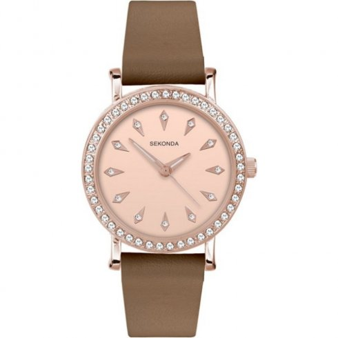 Sekonda Editions fawn dial upper leather strap Ladies watch 2028