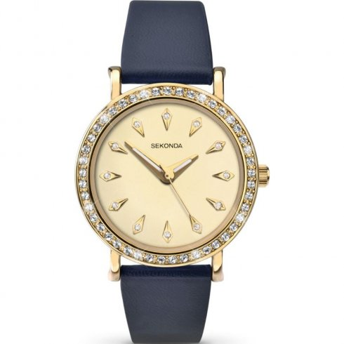 Sekonda Editions gold dial upper leather strap Ladies watch 2026
