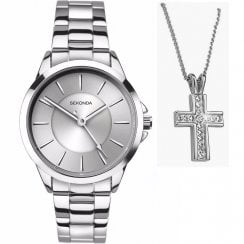 Sekonda Editions Silver Dial Ladies Bracelet Watch and Pendant Gift Set 2455P