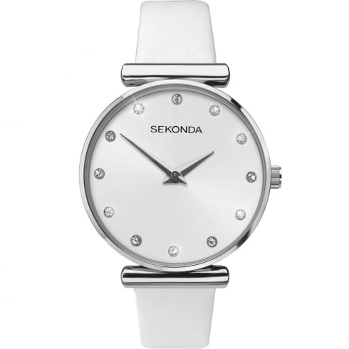 Sekonda Editions Silver Dial White Leather Strap Ladies Watch 2469