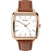 Sekonda Editions White Dial Brown Leather Strap Ladies Watch 2450