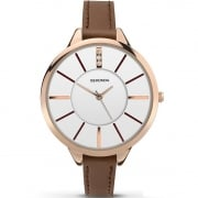 Sekonda Editions White Dial Brown Strap Ladies Watch 2013X