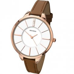 Sekonda Editions White Dial Brown Strap Ladies Watch 2247