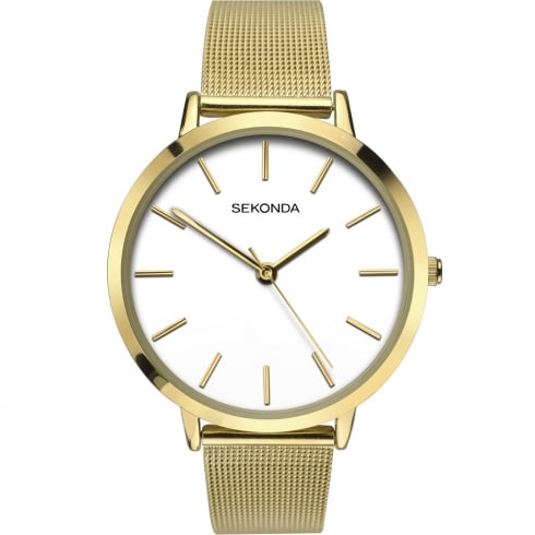 Sekonda Editions White Dial Gold Milanese Bracelet Ladies Watch 2487