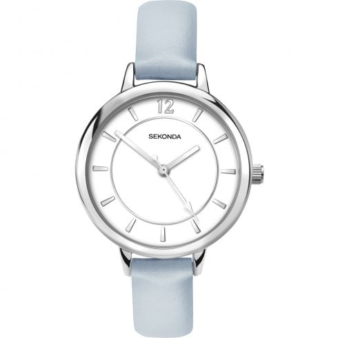 Sekonda Editions White Dial Light Blue Strap Ladies Watch 2505