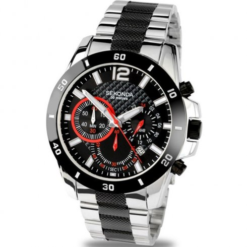 a3df8e4736 Sekonda Endurance black dial chronograph chrome stainless steel bracelet  Mens single tone watch 3420