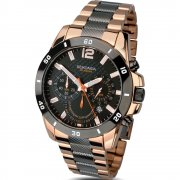 Sekonda Endurance Chronograph Black Dial Rose Gold Two Tone Bracelet Mens Watch 1006