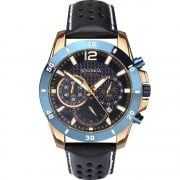 Sekonda Endurance Chronograph Blue Dial Blue Leather Strap Gents Watch 1489