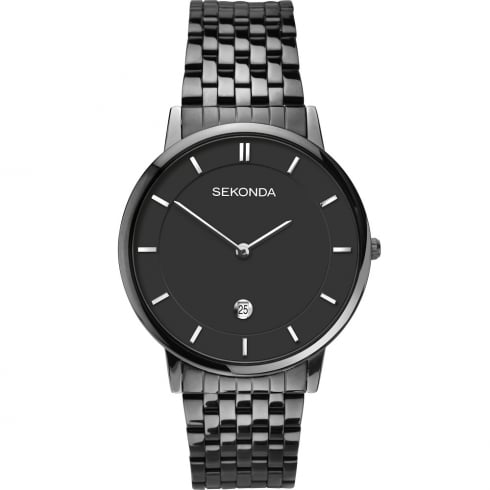 Sekonda Equinox Black Dial IP Black Bracelet Gents Watch 1386