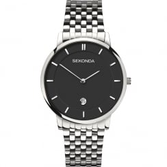 Sekonda Equinox Black Dial Stainless Steel Bracelet Gents Watch 1385