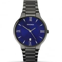 Sekonda Equinox Blue Dial IP Black Bracelet Gents Watch 1140