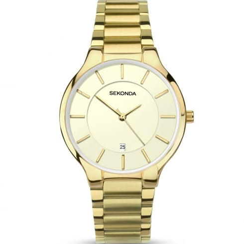 Sekonda Equinox Cream Dial Gold Bracelet Gents Watch 1384