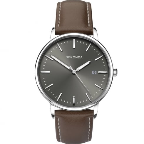 Sekonda Grey Dial Brown Leather Strap Gents Watch 1378