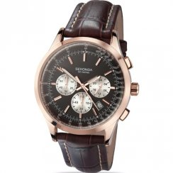 Sekonda Midnight Chronograph Black Dial Brown Leather Strap Mens Watch 3413
