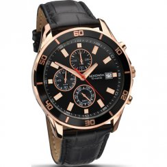 Sekonda Nightfall Chronograph Black Dial Leather Strap Mens Watch 1051