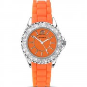 Sekonda Party Time orange dial rubber strap Ladies watch 4448