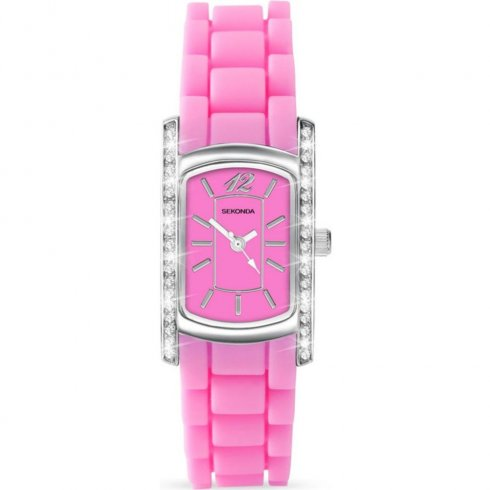 Sekonda Party Time pink dial rubber strap Ladies watch 4574