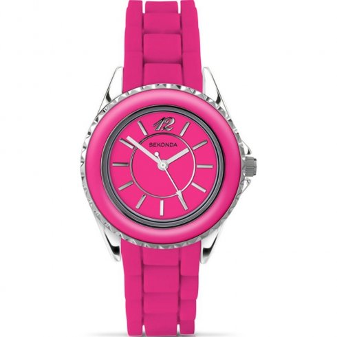 Sekonda Party Time pink dial rubber strap Ladies watch 4594