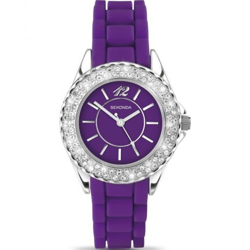 Sekonda Party Time purple dial rubber strap Ladies watch 4449