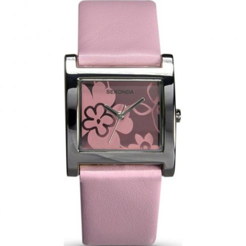 Sekonda Pink Floral Dial Pink Leather Strap Ladies Watch 4125