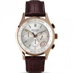 Sekonda Rose Chrono Silver dial Brown Leather Strap Mens Watch 3847