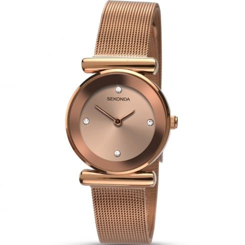Sekonda Rose Gold Dial Stainless Steel Mesh Strap Ladies Watch 2301