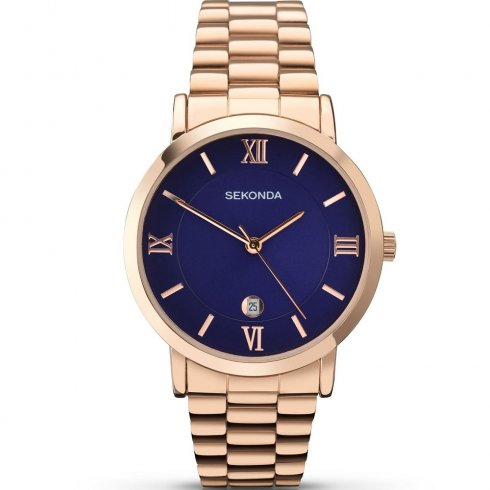 Sekonda Blue Dial Rose Gold Bracelet Gents Watch 1090