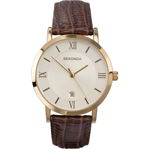 Sekonda Champagne Dial Brown Leather Strap Gents Watch 3478