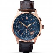 Sekonda Chronograph Blue Dial Brown Leather Strap Gents Watch 1157