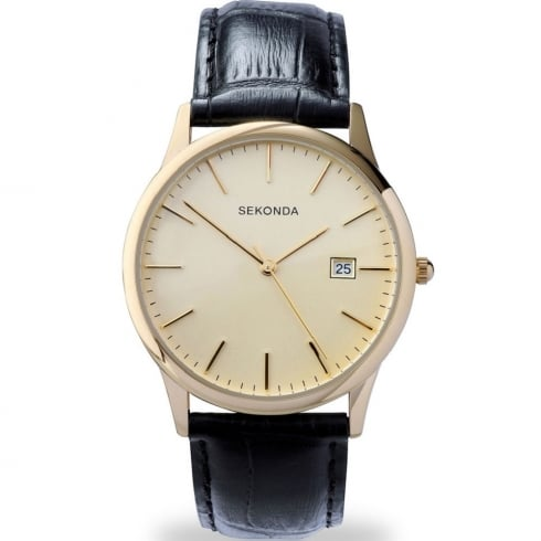 Sekonda Classic Champagne Dial Black Leather Strap Gents Watch 3697