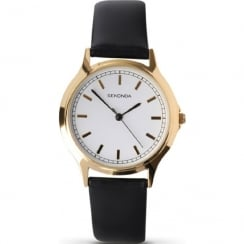 Sekonda Classic White Dial Black Strap Gents Watch 3136