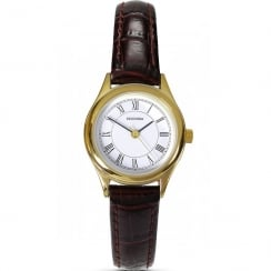Sekonda Classic White Dial Brown Strap Ladies Watch 4495
