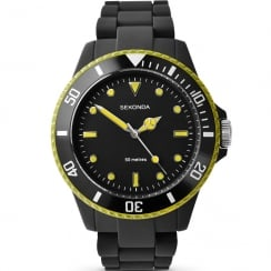 Sekonda Frost Black & Yellow Polycarbonate Bracelet Ladies Watch 4776