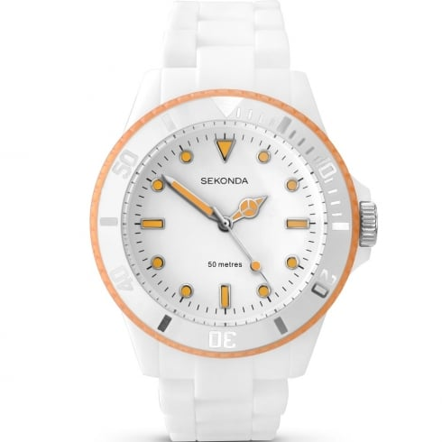 Sekonda Frost White & Orange Polycarbonate Bracelet Ladies Watch 4774