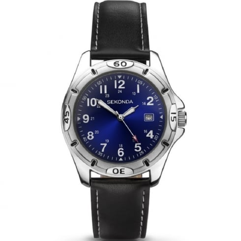 Sekonda Military Blue Dial Black Leather Strap Gents Watch 3512