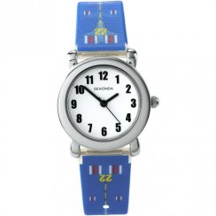 Sekonda White Dial 3D Aeroplane Print Blue Strap Kids Watch 4341