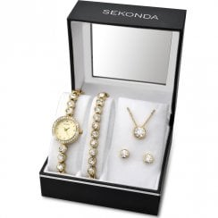Sekonda Stone Set Gold Watch Bracelet Pendant and Studs Ladies Gift Set 2401G