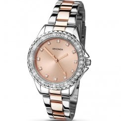 Sekonda Temptations Rose Gold Dial 2 Tone Bracelet Ladies Watch 4254