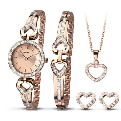The christmas set rose gold watch bracelet heart pendant studs sekonda the christmas set rose gold watch bracelet heart pendant studs gift set mozeypictures Images