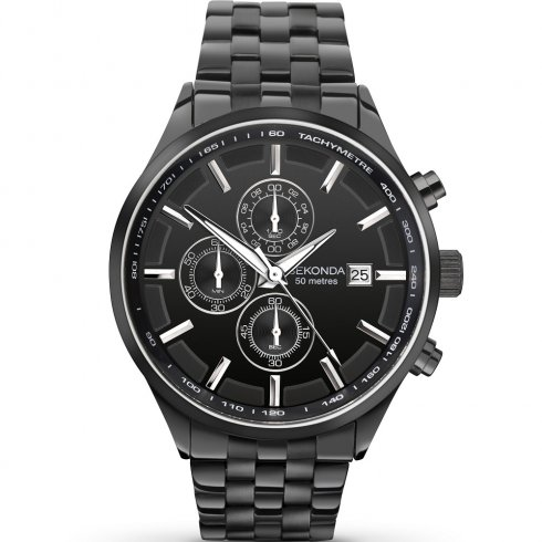 Sekonda Velocity Chronograph Black Dial IP Black Bracelet Gents Watch 1158