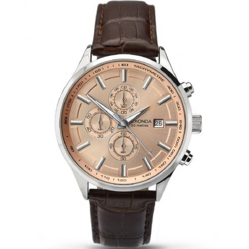 Sekonda Velocity Rose Gold Dial Brown Leather Strap Gents Watch 1105