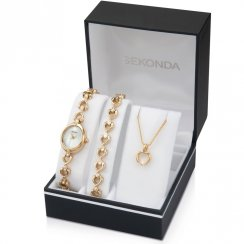 Sekonda White Dial Gold Bracelet Ladies Watch Gift Set 4937G