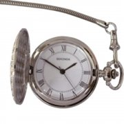 Sekonda white dial stainless steel chain Mens Pocket watch 3798