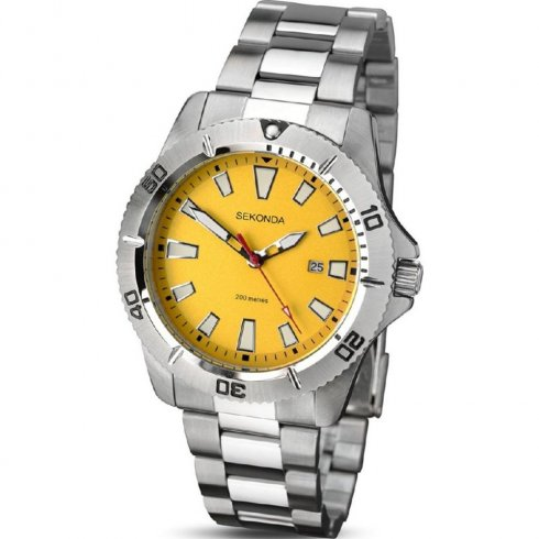 men retro analog fossil mens s dial traveler yellow watch watches